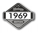 VIntage Edition 1969 Classic Retro Cafe Racer Design External Vinyl Car Motorcyle Sticker 85x70mm